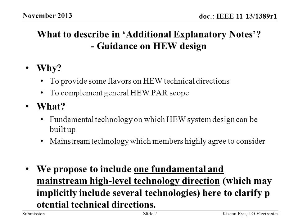 Submission doc.: IEEE 11-13/1389r1 What to describe in 'Additional Explanatory Notes'.