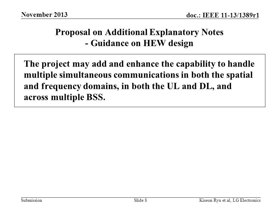 Submission doc.: IEEE 11-13/1389r1 Proposal on Additional Explanatory Notes - Guidance on HEW design The project may add and enhance the capability to handle multiple simultaneous communications in both the spatial and frequency domains, in both the UL and DL, and across multiple BSS.