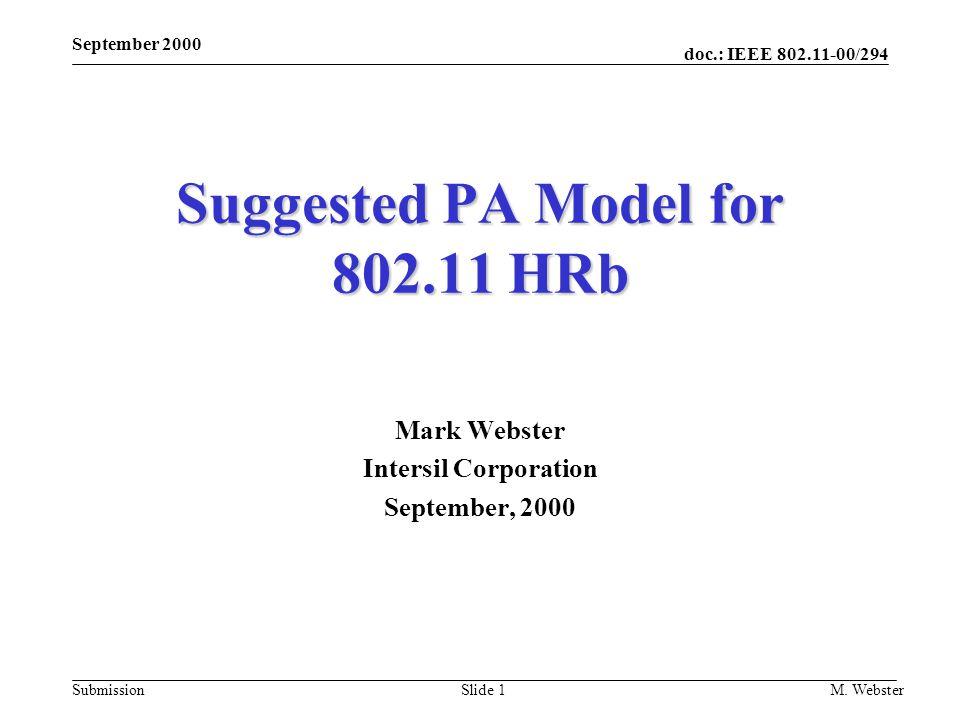 doc.: IEEE 802.11-00/294 Submission September 2000 M. WebsterSlide 1 Suggested PA Model for 802.11 HRb Mark Webster Intersil Corporation September, 20