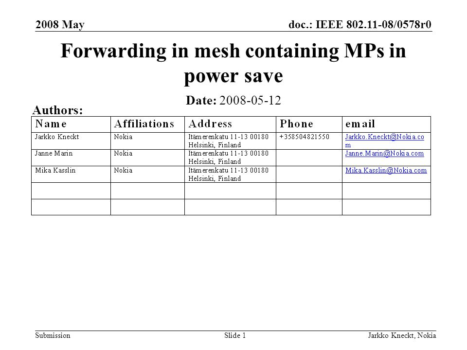 doc.: IEEE /0578r0 Submission 2008 May Jarkko Kneckt, NokiaSlide 1 Forwarding in mesh containing MPs in power save Date: Authors: