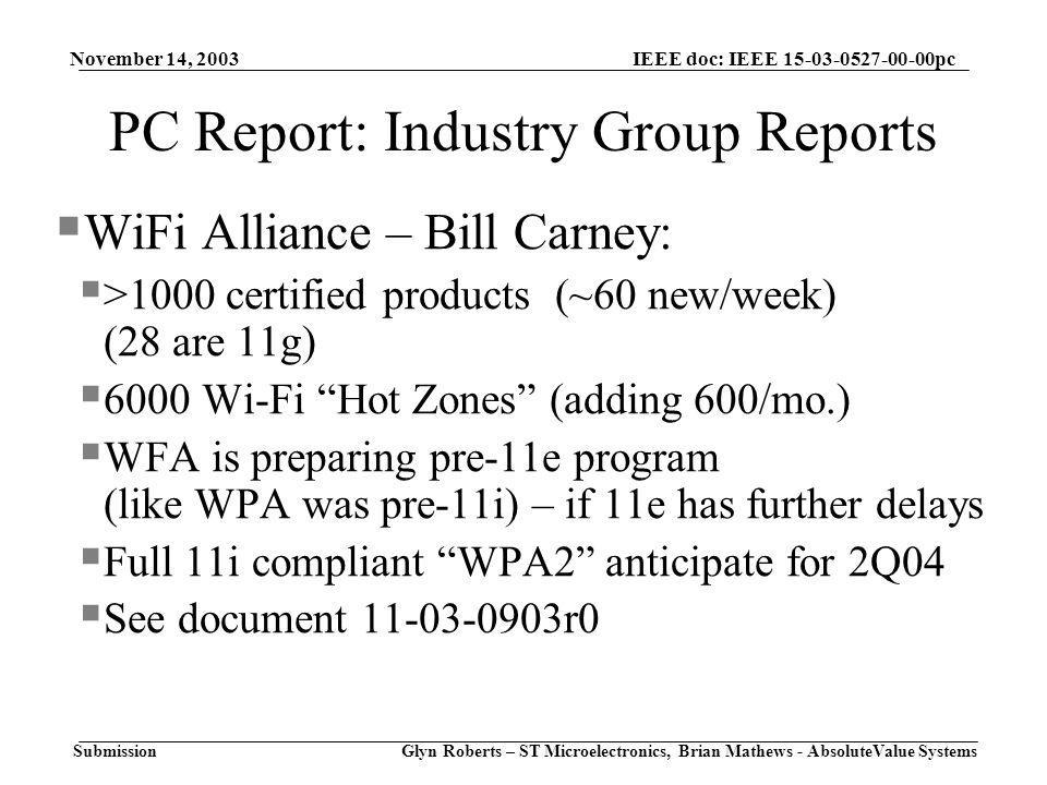 November 14, 2003 Glyn Roberts – ST Microelectronics, Brian Mathews - AbsoluteValue Systems IEEE doc: IEEE pc Submission PC Report: Industry Group Reports  WiFi Alliance – Bill Carney:  >1000 certified products (~60 new/week) (28 are 11g)  6000 Wi-Fi Hot Zones (adding 600/mo.)  WFA is preparing pre-11e program (like WPA was pre-11i) – if 11e has further delays  Full 11i compliant WPA2 anticipate for 2Q04  See document r0
