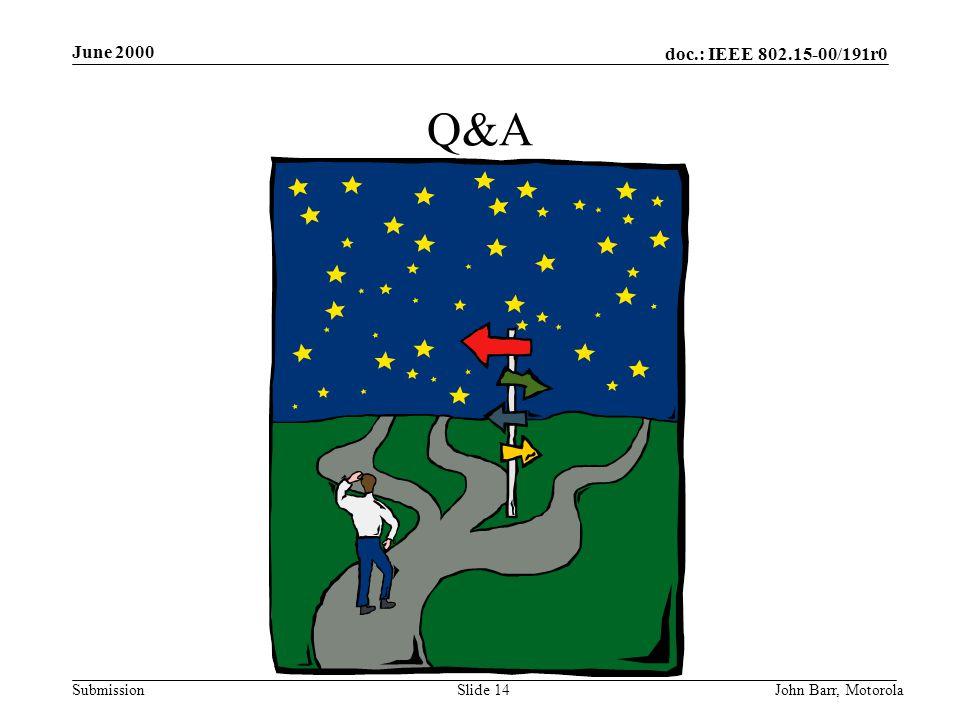 doc.: IEEE 802.15-00/191r0 Submission June 2000 John Barr, MotorolaSlide 14 Q&A