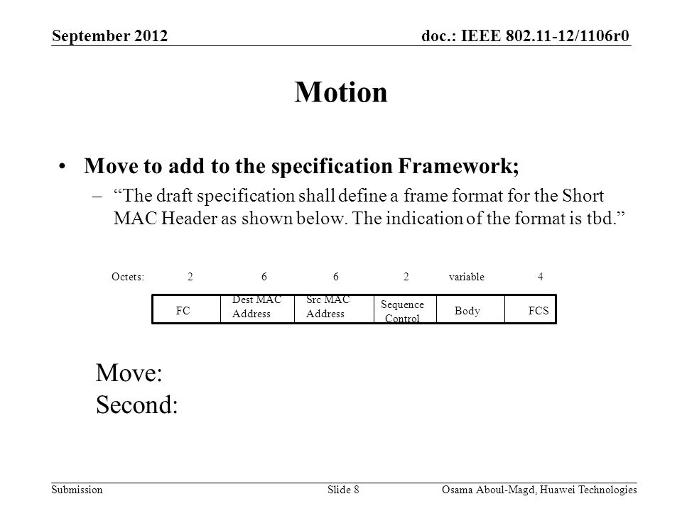doc.: IEEE 802.11-12/1106r0 Submission Motion Move to add to the specification Framework; – The draft specification shall define a frame format for the Short MAC Header as shown below.