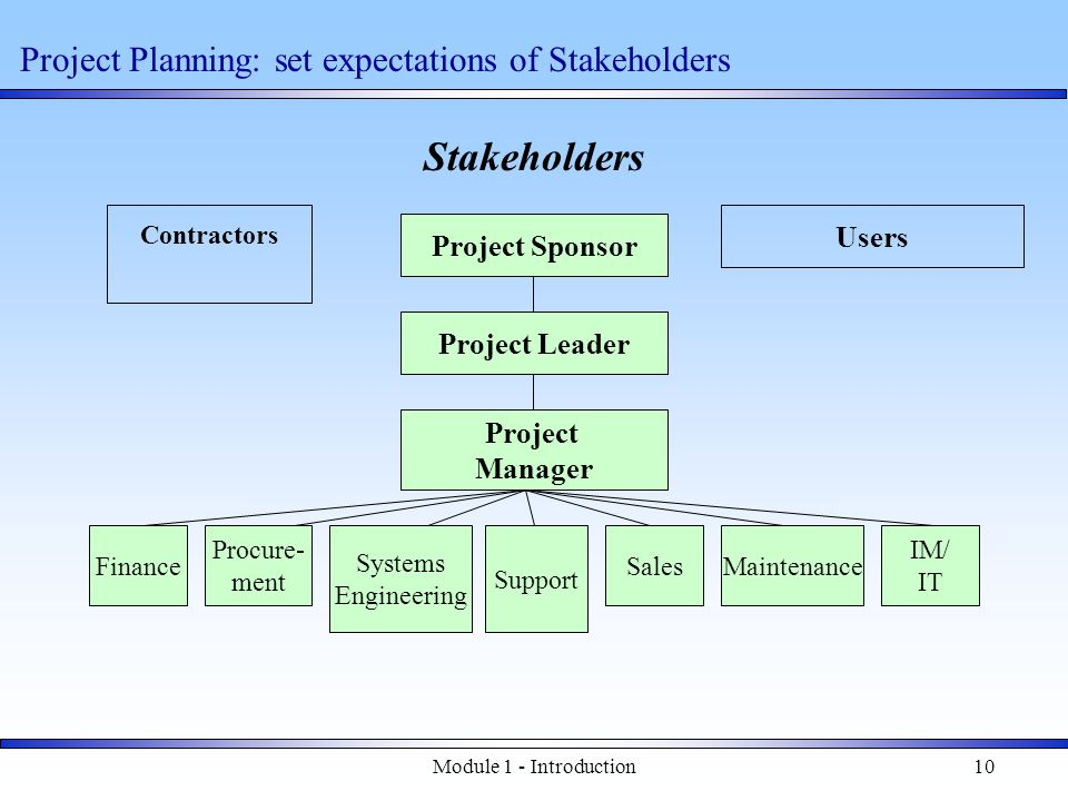 Module 1 - Introduction10 Stakeholders Project Sponsor Project Leader Project Manager Finance Procure- ment Systems Engineering Support SalesMaintenance IM/ IT Users Contractors Project Planning: set expectations of Stakeholders