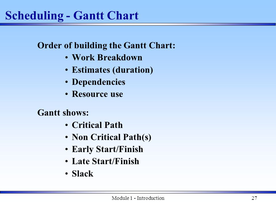 Module 1 - Introduction27 Scheduling - Gantt Chart Order of building the Gantt Chart: Work Breakdown Estimates (duration) Dependencies Resource use Gantt shows: Critical Path Non Critical Path(s) Early Start/Finish Late Start/Finish Slack