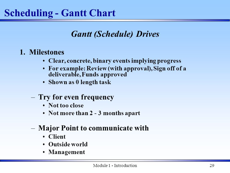 Module 1 - Introduction29 Gantt (Schedule) Drives 1.