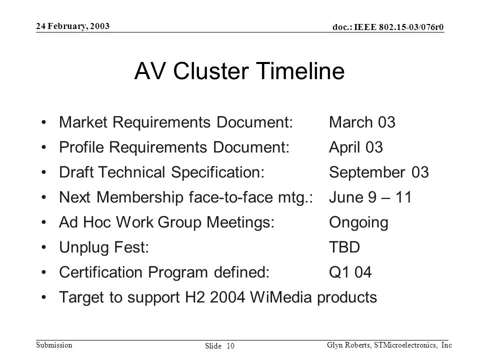 doc.: IEEE 802.15-03/076r0 Submission 10 Slide 24 February, 2003 Glyn Roberts, STMicroelectronics, Inc AV Cluster Timeline Market Requirements Documen