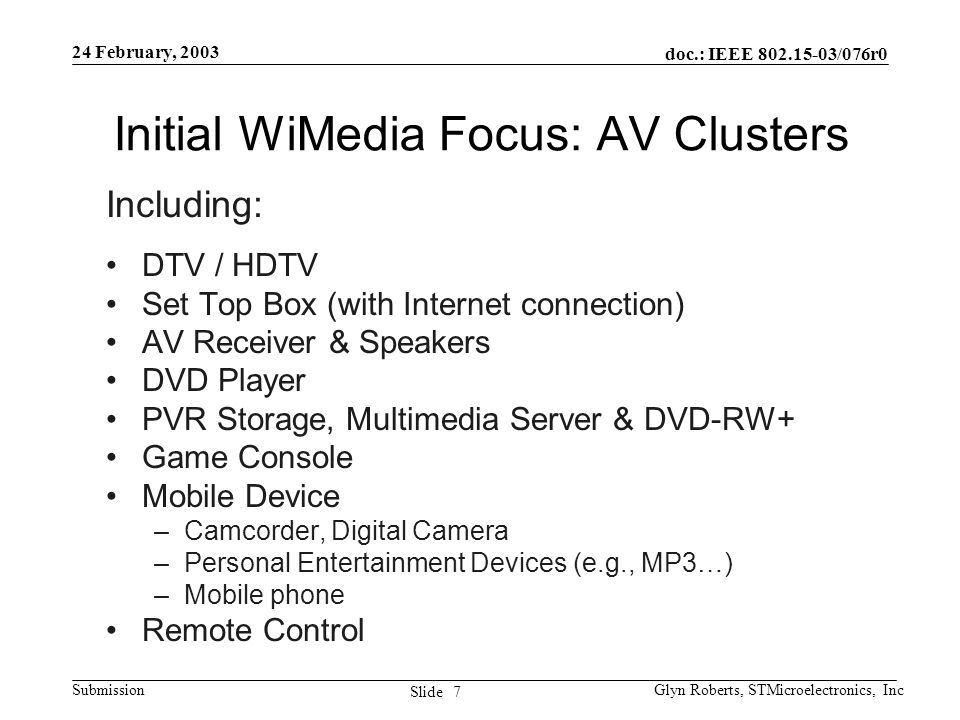 doc.: IEEE 802.15-03/076r0 Submission 7 Slide 24 February, 2003 Glyn Roberts, STMicroelectronics, Inc Initial WiMedia Focus: AV Clusters Including: DT