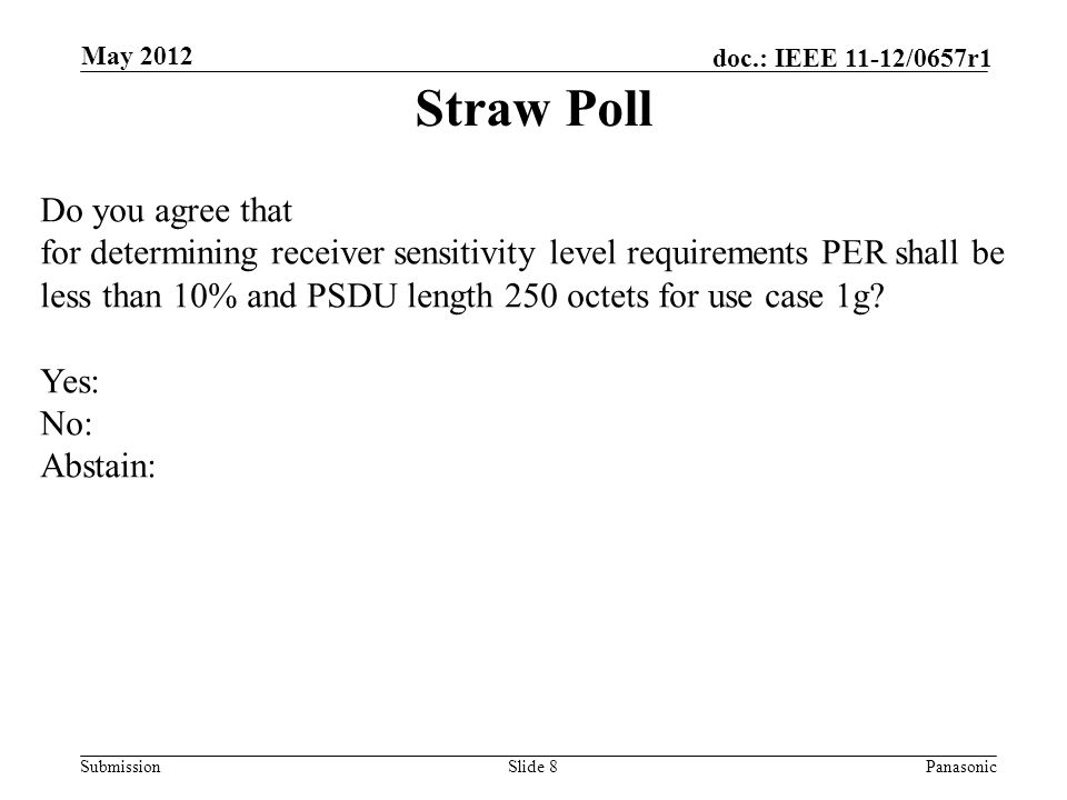 Submission doc.: IEEE 11-12/0657r1 Slide 8Panasonic May 2012 Straw Poll Do you agree that for determining receiver sensitivity level requirements PER shall be less than 10% and PSDU length 250 octets for use case 1g.