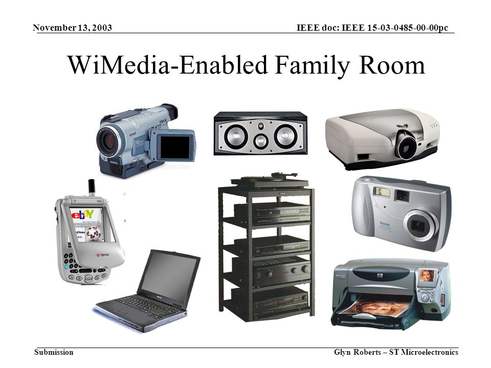 November 13, 2003 Glyn Roberts – ST Microelectronics IEEE doc: IEEE 15-03-0485-00-00pc Submission WiMedia-Enabled Family Room