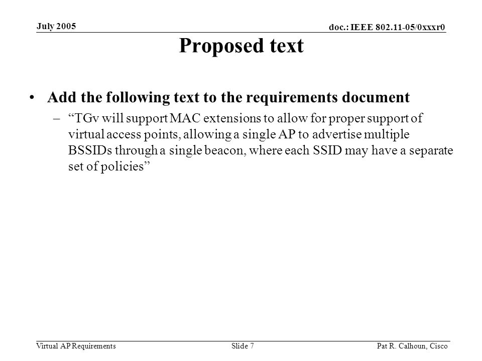 doc.: IEEE /0xxxr0 Virtual AP Requirements July 2005 Pat R.