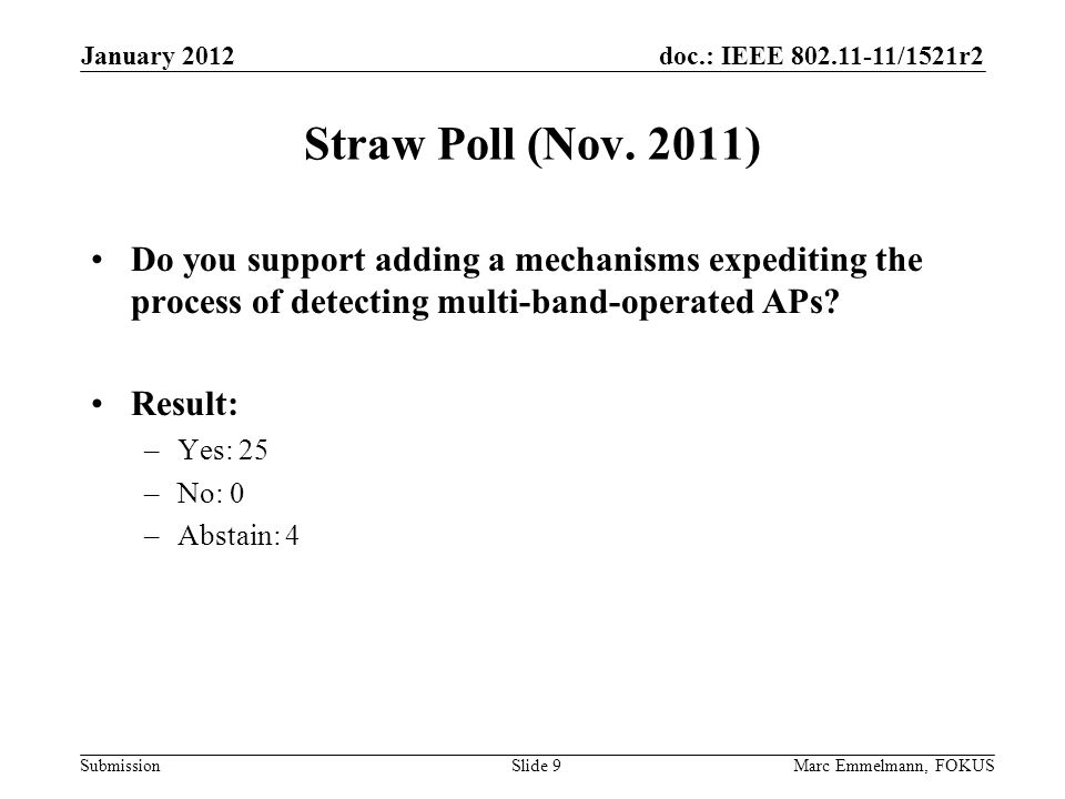 doc.: IEEE 802.11-11/1521r2 Submission Straw Poll (Nov.