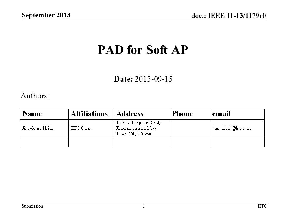 Submission doc.: IEEE 11-13/1179r0 PAD for Soft AP Date: 2013-09-15 Authors: September 2013 HTC1