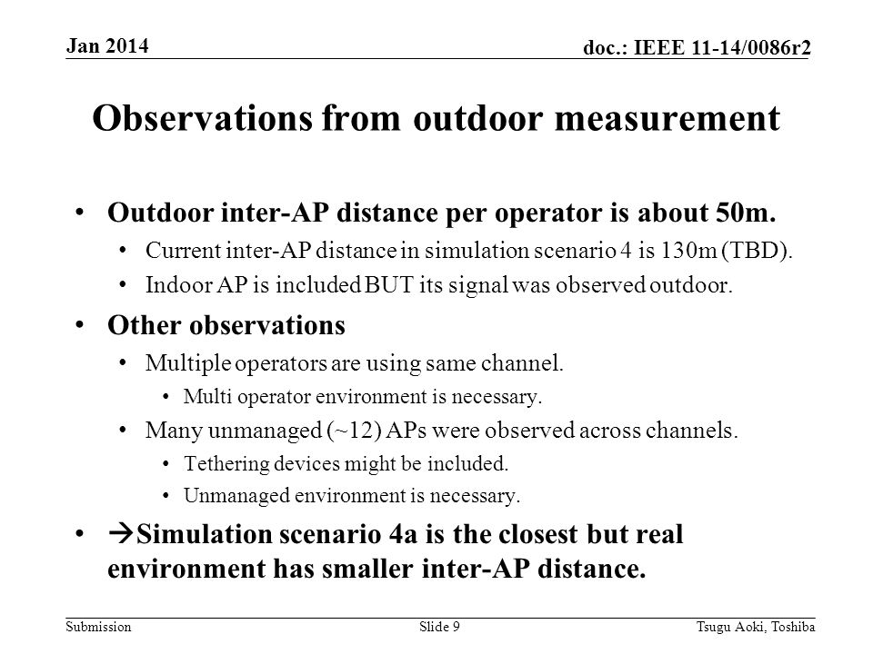 Submission doc.: IEEE 11-14/0086r2 Observations from outdoor measurement Outdoor inter-AP distance per operator is about 50m.