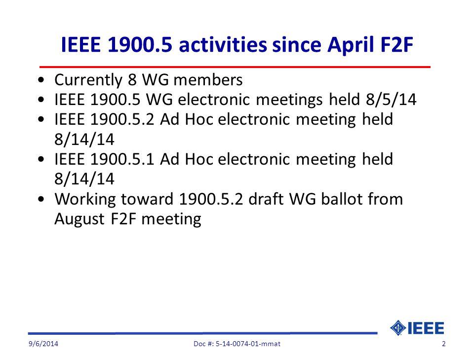 IEEE 1900.5 activities since April F2F Currently 8 WG members IEEE 1900.5 WG electronic meetings held 8/5/14 IEEE 1900.5.2 Ad Hoc electronic meeting h