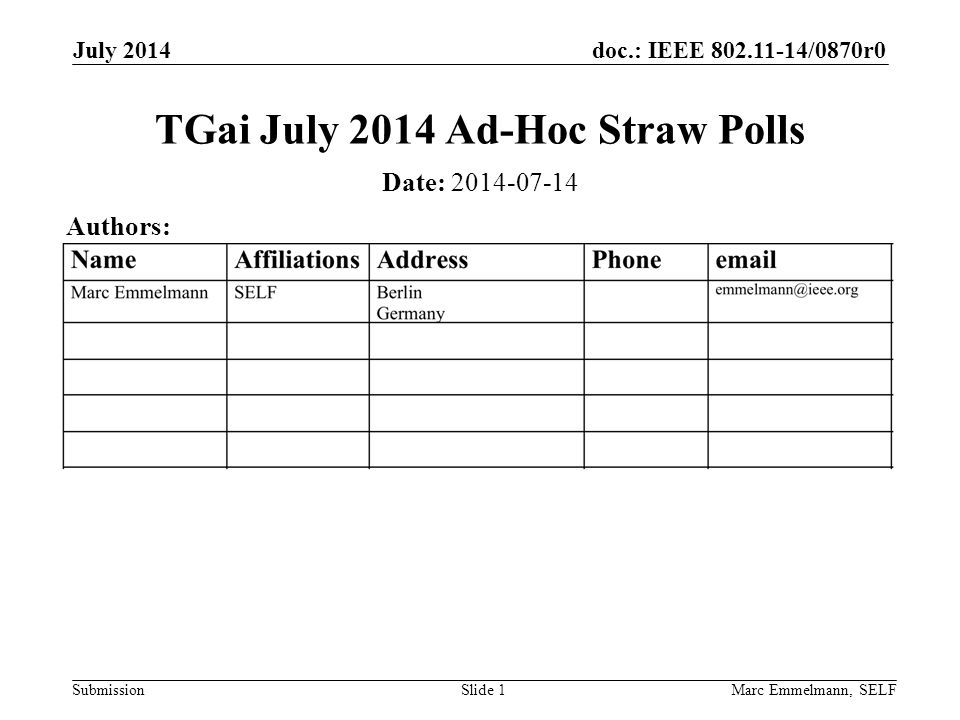 doc.: IEEE 802.11-14/0870r0 Submission July 2014 Marc Emmelmann, SELFSlide 2 Abstract Straw polls on accepting comment resolutions as discussed during the July TGai Ad-Hoc meeting.
