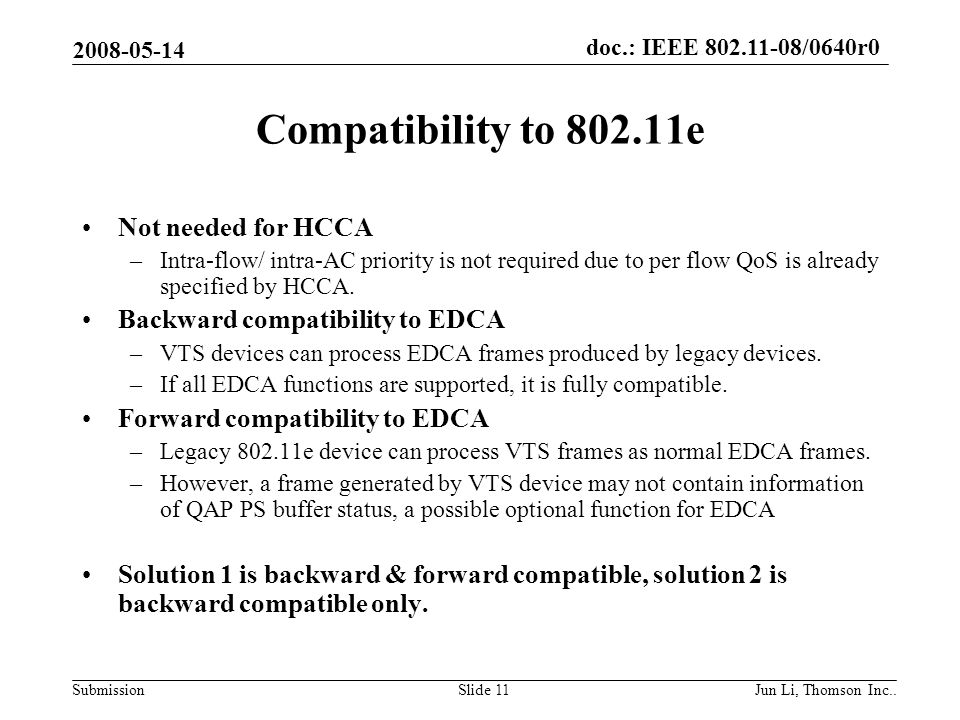doc.: IEEE 802.11-08/0640r0 Submission 2008-05-14 Jun Li, Thomson Inc..Slide 11 Compatibility to 802.11e Not needed for HCCA –Intra-flow/ intra-AC priority is not required due to per flow QoS is already specified by HCCA.