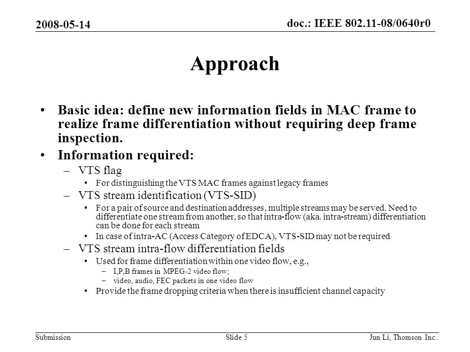 doc.: IEEE 802.11-08/0640r0 Submission 2008-05-14 Jun Li, Thomson Inc..Slide 6 Possible Differentiation Fields Priority –Corresponding to content dependent frames for intra-flow or intra- AC Dropping precedence –How to drop Frame category –Video/Audio –FEC