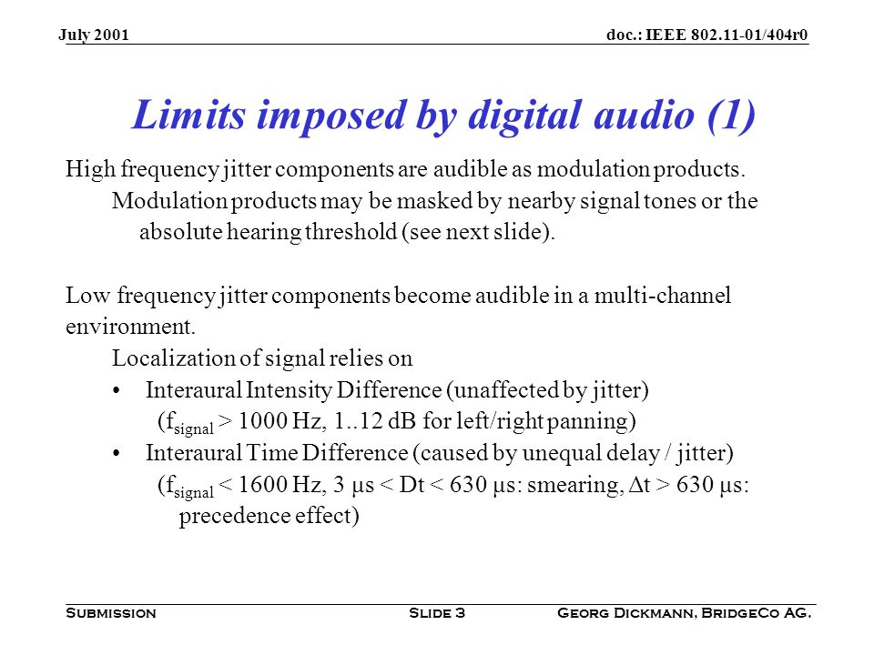 doc.: IEEE /404r0 Submission July 2001 Georg Dickmann, BridgeCo AG.Slide 3 High frequency jitter components are audible as modulation products.