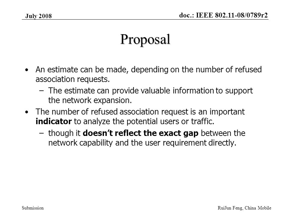 doc.: IEEE 802.11-08/0789r2 Submission July 2008 RuiJun Feng, China Mobile Proposal An estimate can be made, depending on the number of refused association requests.