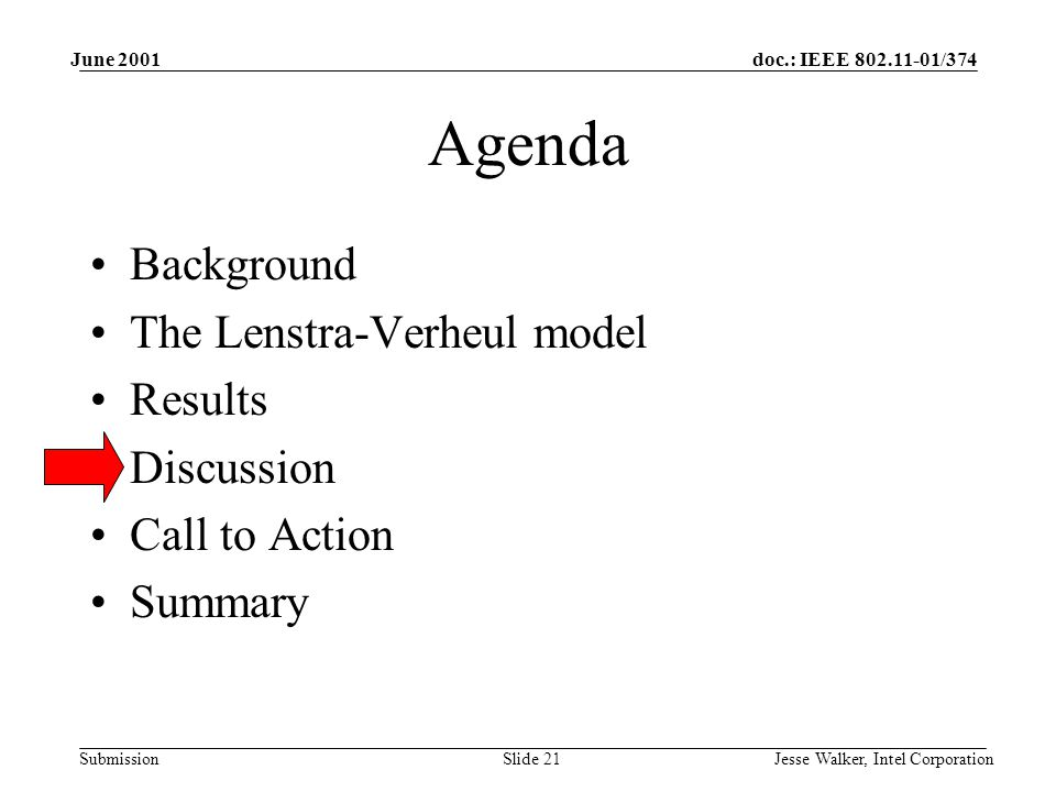 doc.: IEEE 802.11-01/374 Submission June 2001 Jesse Walker, Intel CorporationSlide 21 Agenda Background The Lenstra-Verheul model Results Discussion Call to Action Summary