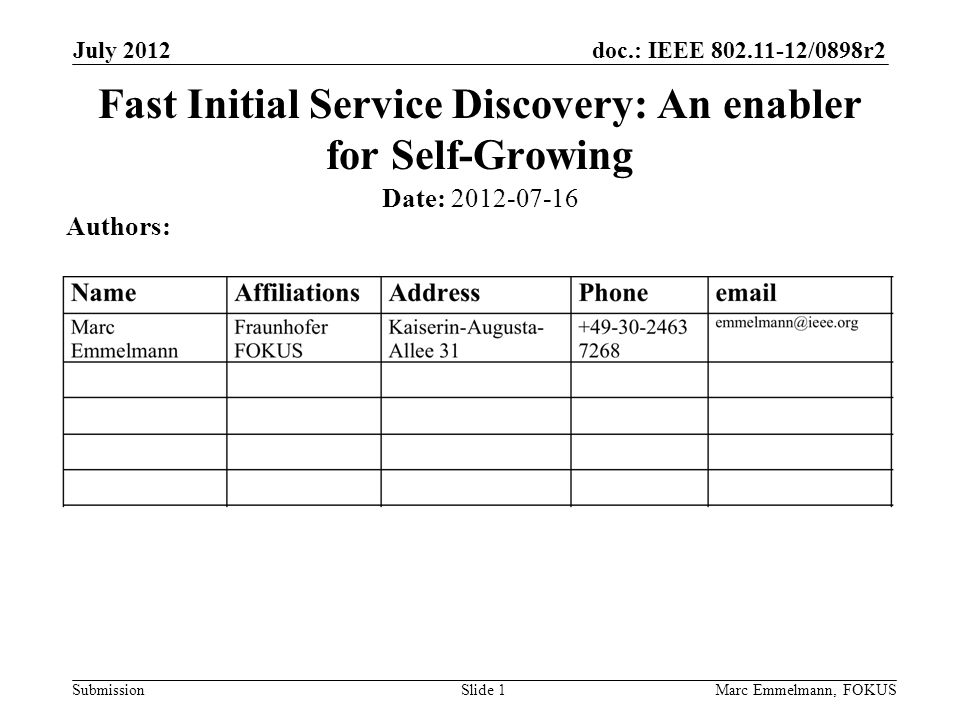 doc.: IEEE 802.11-12/0898r2 Submission July 2012 Marc Emmelmann, FOKUSSlide 1 Fast Initial Service Discovery: An enabler for Self-Growing Date: 2012-07-16 Authors: