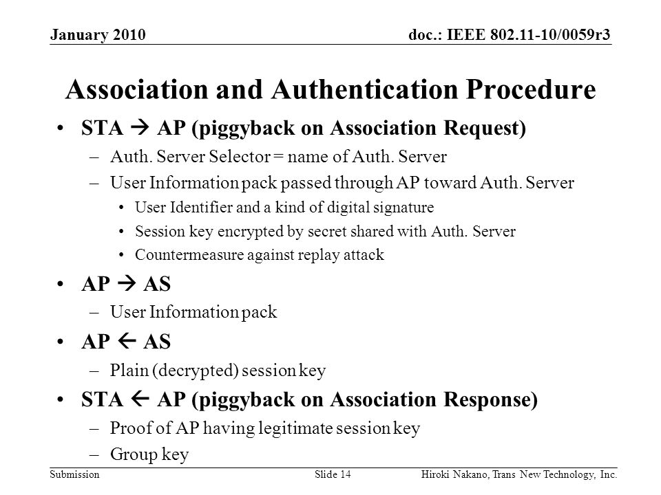 doc.: IEEE 802.11-10/0059r3 Submission Association and Authentication Procedure STA  AP (piggyback on Association Request) –Auth.