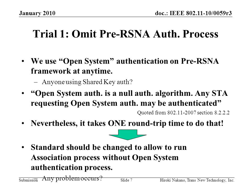 """doc.: IEEE 802.11-10/0059r3 Submission Trial 1: Omit Pre-RSNA Auth. Process We use """"Open System"""" authentication on Pre-RSNA framework at anytime. –Any"""