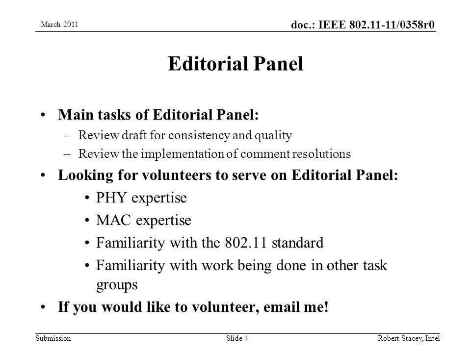 doc.: IEEE 802.11-11/0358r0 Submission Editorial Panel Main tasks of Editorial Panel: –Review draft for consistency and quality –Review the implementation of comment resolutions Looking for volunteers to serve on Editorial Panel: PHY expertise MAC expertise Familiarity with the 802.11 standard Familiarity with work being done in other task groups If you would like to volunteer, email me.
