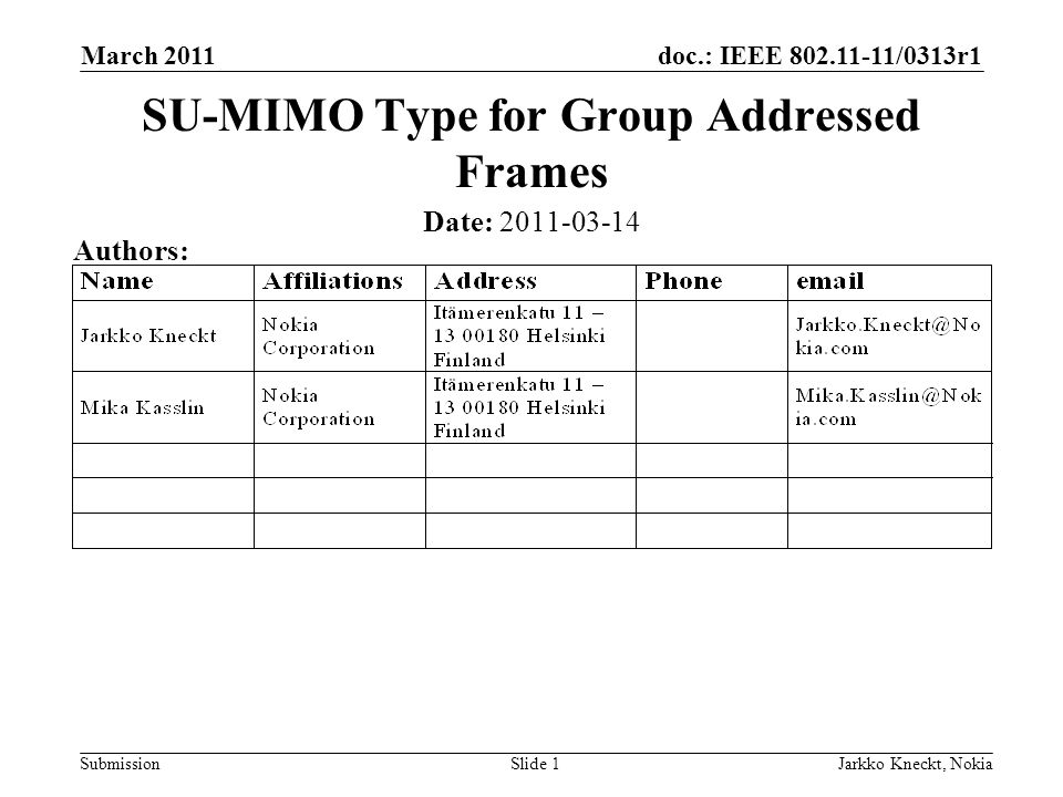 doc.: IEEE 802.11-11/0313r1 Submission March 2011 Jarkko Kneckt, NokiaSlide 2 Abstract The presentation describes means to detect: The BSSID (TA) of the BSS that transmitted the group addressed frame The group address (RA) of the transmitted frame The BSSID and group address detection from the VHT-SIG A enables group addressed receivers to skip the reception of unnecessary group addressed frames and to improve the non-AP STA power efficiency especially in the stand-by mode and in passive scanning.