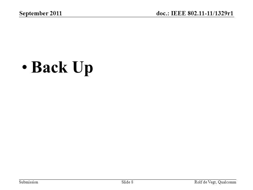 doc.: IEEE 802.11-11/1329r1 Submission Back Up September 2011 Slide 8Rolf de Vegt, Qualcomm
