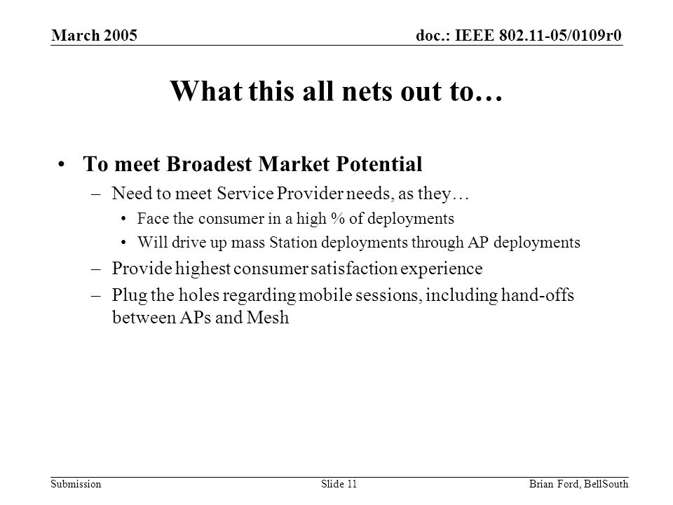 doc.: IEEE 802.11-05/0109r0 Submission March 2005 Brian Ford, BellSouthSlide 11 What this all nets out to… To meet Broadest Market Potential –Need to