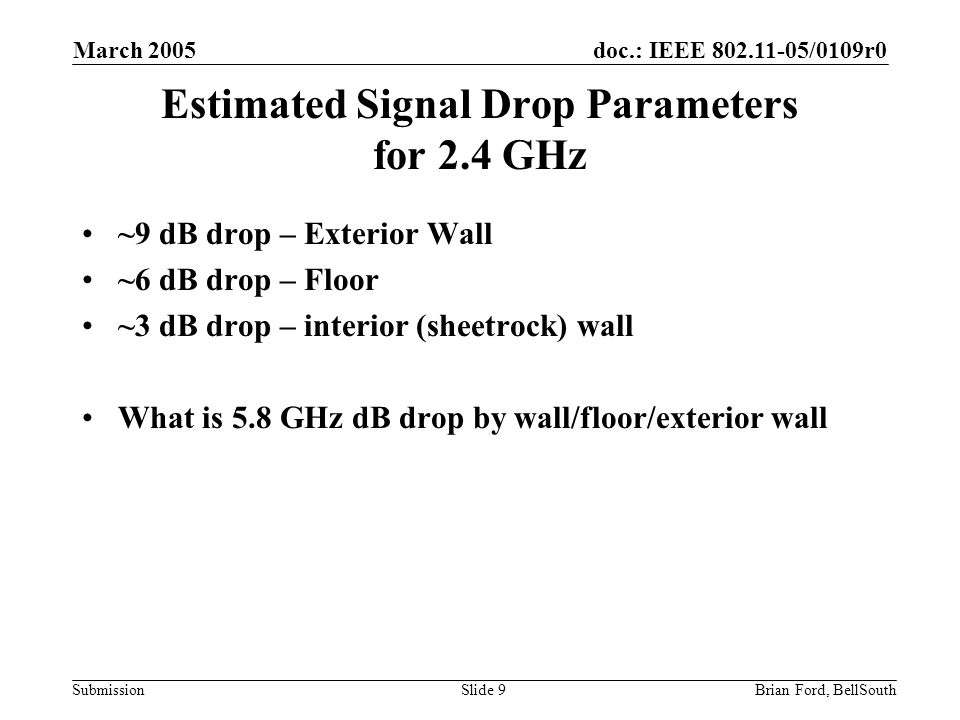doc.: IEEE 802.11-05/0109r0 Submission March 2005 Brian Ford, BellSouthSlide 9 Estimated Signal Drop Parameters for 2.4 GHz ~9 dB drop – Exterior Wall