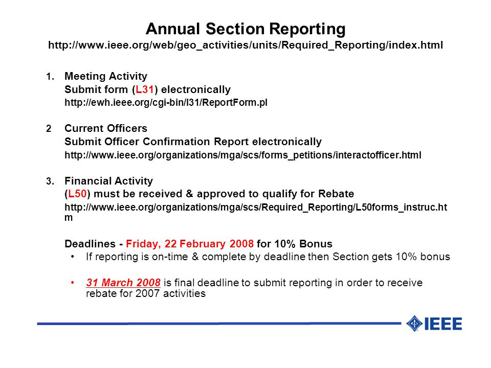 Annual Section Reporting   1.
