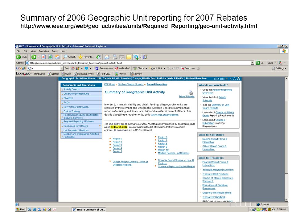 Summary of 2006 Geographic Unit reporting for 2007 Rebates