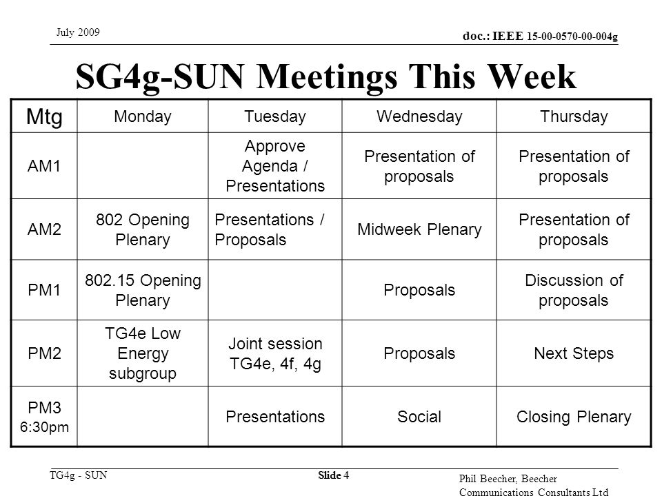 doc.: IEEE 15-00-0570-00-004g TG4g - SUN July 2009 Phil Beecher, Beecher Communications Consultants Ltd Slide 4 SG4g-SUN Meetings This Week Mtg Monday