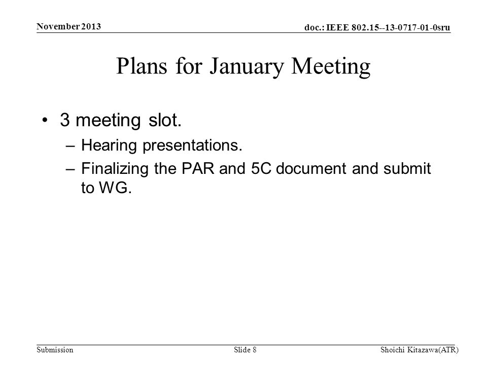 doc.: IEEE 802.15--13-0717-01-0sru Submission 3 meeting slot.