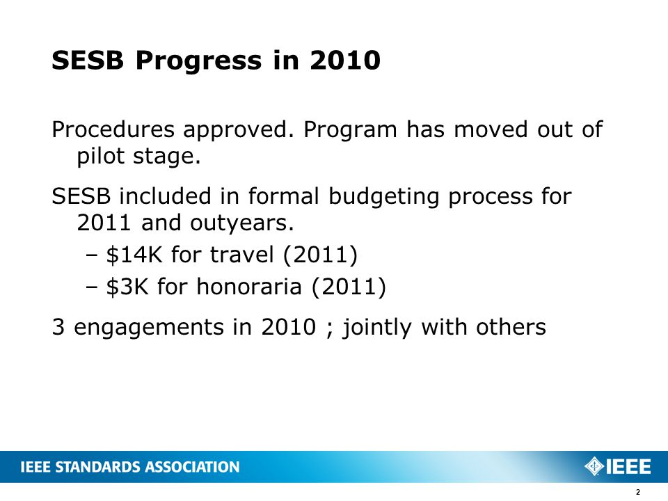 SESB Progress in 2010 Procedures approved.Program has moved out of pilot stage.