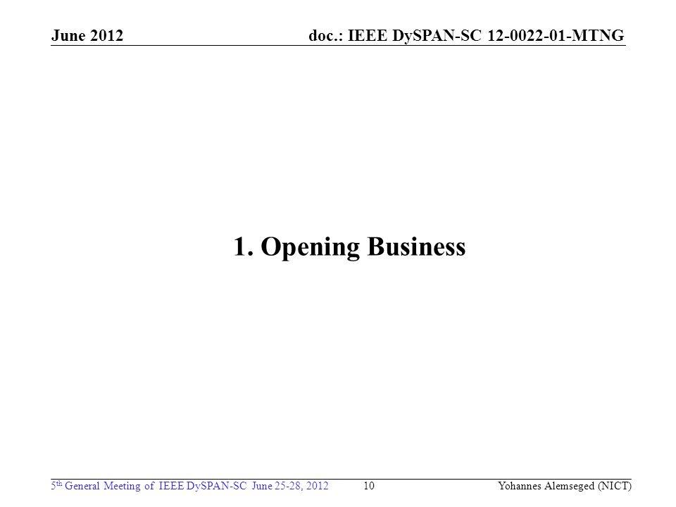 doc.: IEEE DySPAN-SC 12-0022-01-MTNG 5 th General Meeting of IEEE DySPAN-SC June 25-28, 2012 June 2012 1. Opening Business 10 Yohannes Alemseged (NICT