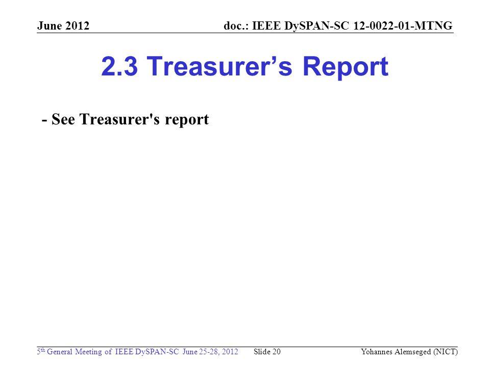 doc.: IEEE DySPAN-SC 12-0022-01-MTNG 5 th General Meeting of IEEE DySPAN-SC June 25-28, 2012 June 2012 2.3 Treasurer's Report - See Treasurer's report