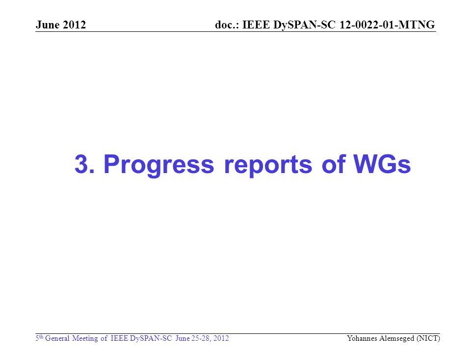 doc.: IEEE DySPAN-SC 12-0022-01-MTNG 5 th General Meeting of IEEE DySPAN-SC June 25-28, 2012 June 2012 3. Progress reports of WGs Yohannes Alemseged (