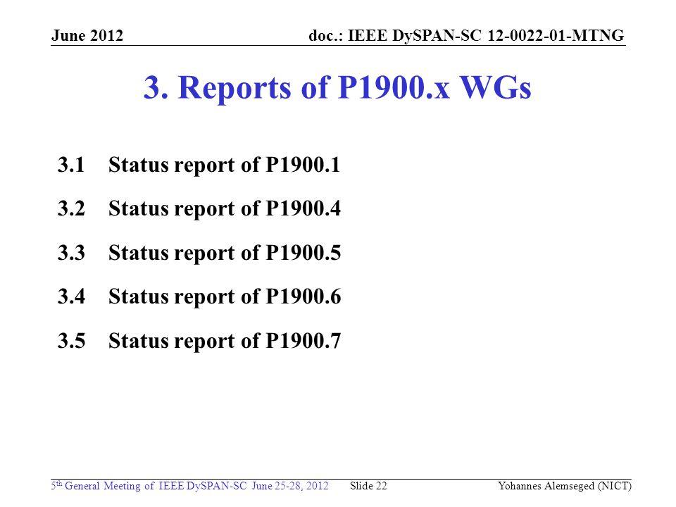 doc.: IEEE DySPAN-SC 12-0022-01-MTNG 5 th General Meeting of IEEE DySPAN-SC June 25-28, 2012 June 2012 Yohannes Alemseged (NICT) Slide 22 3. Reports o