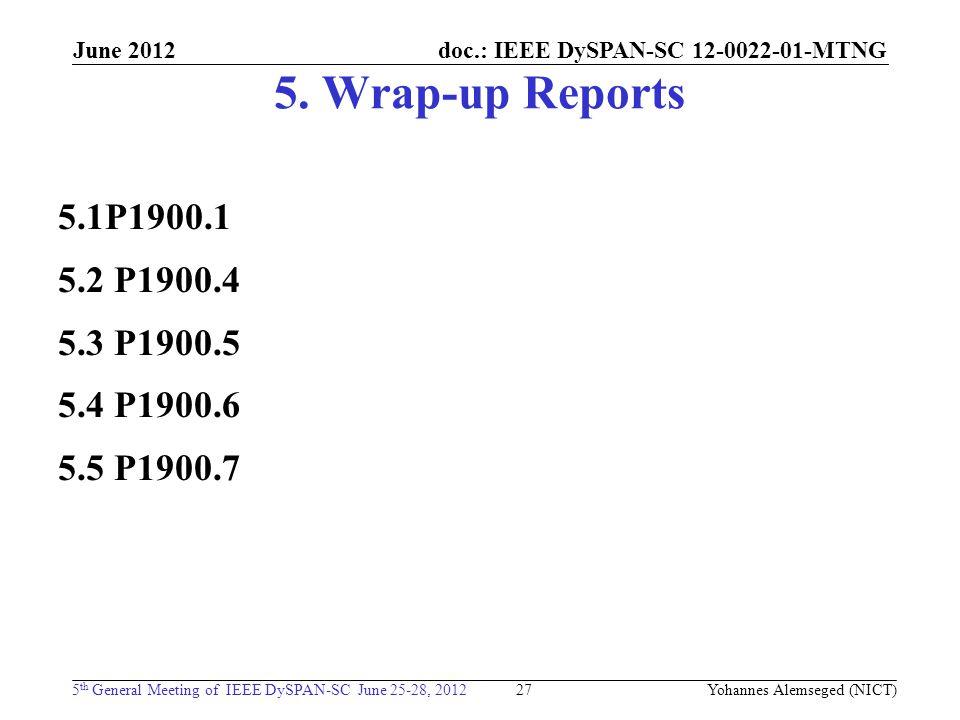 doc.: IEEE DySPAN-SC 12-0022-01-MTNG 5 th General Meeting of IEEE DySPAN-SC June 25-28, 2012 June 2012 5. Wrap-up Reports 5.1P1900.1 5.2 P1900.4 5.3 P