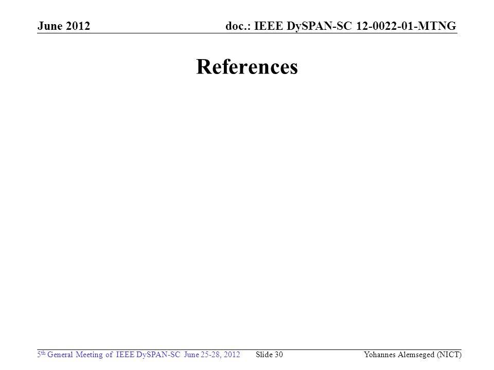 doc.: IEEE DySPAN-SC 12-0022-01-MTNG 5 th General Meeting of IEEE DySPAN-SC June 25-28, 2012 June 2012 References Slide 30 Yohannes Alemseged (NICT)