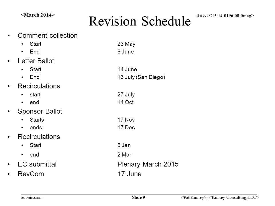 doc.: Submission, Slide 9 Revision Schedule Comment collection Start23 May End6 June Letter Ballot Start14 June End13 July (San Diego) Recirculations start27 July end 14 Oct Sponsor Ballot Starts 17 Nov ends17 Dec Recirculations Start5 Jan end2 Mar EC submittal Plenary March 2015 RevCom17 June