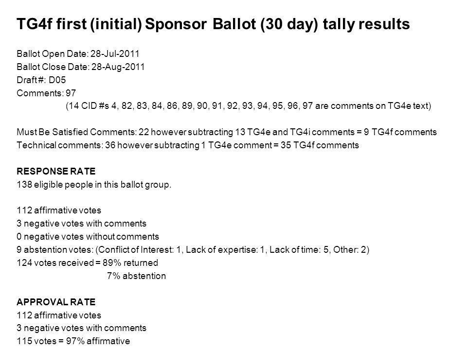TG4f first (initial) Sponsor Ballot (30 day) tally results Ballot Open Date: 28-Jul-2011 Ballot Close Date: 28-Aug-2011 Draft #: D05 Comments: 97 (14 CID #s 4, 82, 83, 84, 86, 89, 90, 91, 92, 93, 94, 95, 96, 97 are comments on TG4e text) Must Be Satisfied Comments: 22 however subtracting 13 TG4e and TG4i comments = 9 TG4f comments Technical comments: 36 however subtracting 1 TG4e comment = 35 TG4f comments RESPONSE RATE 138 eligible people in this ballot group.