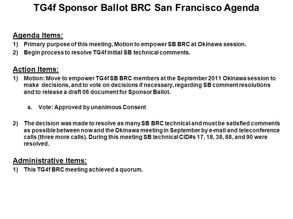 TG4f Sponsor Ballot BRC Meeting Schedule Next 802.15 interim meeting session - September 19-22, 2011 in Okinawa, Japan 18 days between Wed.