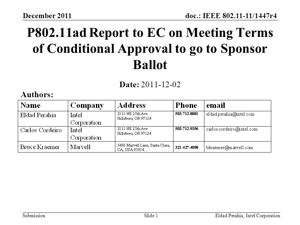 doc.: IEEE 802.11-11/1447r4 Submission December 2011 Slide 2 Summary The IEEE 802 Executive Committee (EC) granted conditional approval to P802.11ad to proceed to sponsor ballot at its closing plenary on 2011-11-11.