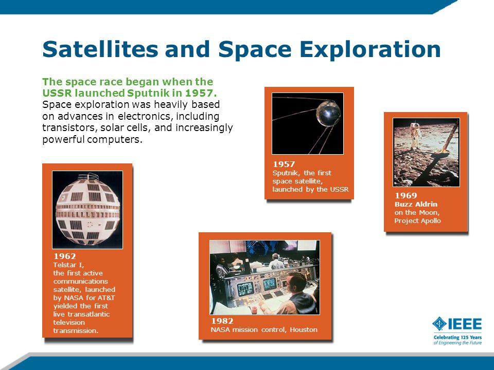 Satellites and Space Exploration The space race began when the USSR launched Sputnik in 1957.