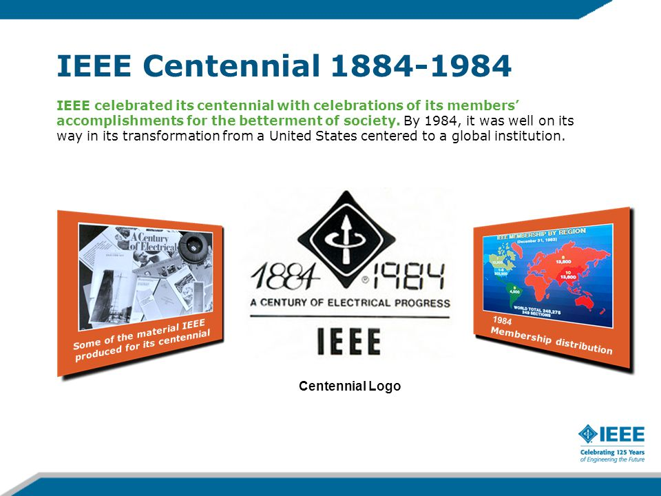 IEEE Centennial 1884-1984 Centennial Logo IEEE celebrated its centennial with celebrations of its members' accomplishments for the betterment of society.